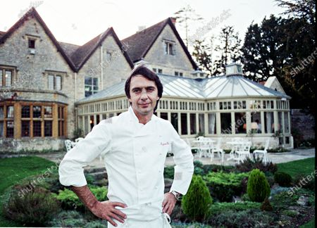 Chef Raymond Blanc, poses at his Award Winning Total and Restaurant Le Manior Aux Quat' Saisons 1990