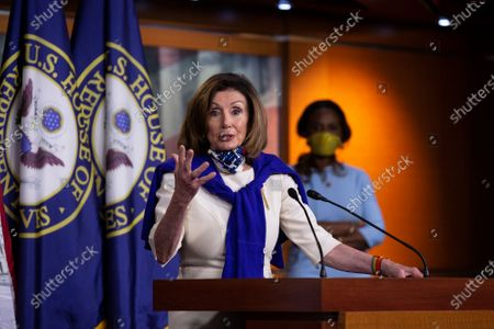 Stock Picture of Speaker of the United States House of Representatives Nancy Pelosi (Democrat of California) speaks during a news conference regarding the vote by mail provision in the Heroes Act at the United States Capitol in Washington D.C., U.S..