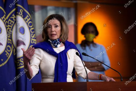 Speaker of the United States House of Representatives Nancy Pelosi (Democrat of California) speaks during a news conference regarding the vote by mail provision in the Heroes Act at the United States Capitol in Washington D.C., U.S..