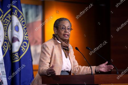United States Delegate Eleanor Holmes Norton (Democrat of the District of Columbia) speaks during a news conference with Speaker of the United States House of Representatives Nancy Pelosi (Democrat of California) regarding the vote by mail provision in the Heroes Act at the United States Capitol in Washington D.C., U.S..
