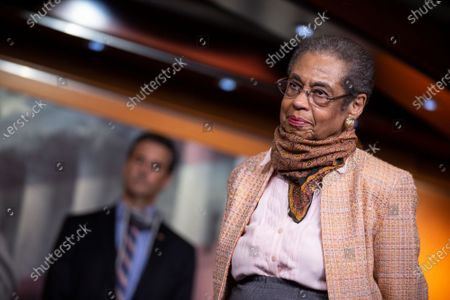 United States Delegate Eleanor Holmes Norton (Democrat of the District of Columbia) listens during a news conference with Speaker of the United States House of Representatives Nancy Pelosi (Democrat of California) regarding the vote by mail provision in the Heroes Act at the United States Capitol in Washington D.C., U.S..