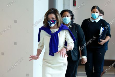Speaker of the United States House of Representatives Nancy Pelosi (Democrat of California) departs a news conference regarding the vote by mail provision in the Heroes Act at the United States Capitol in Washington D.C., U.S..
