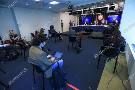 New York Governor Andrew Cuomo attends to journalists during a news conference. New York is the epicenter in the world of the new coronavirus pandemic (COVID-19).