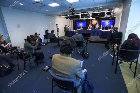 Stock Image of New York Governor Andrew Cuomo attends to journalists during a news conference. New York is the epicenter in the world of the new coronavirus pandemic (COVID-19).