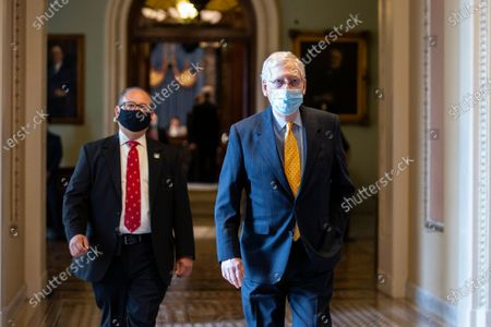 Stock Picture of United States Senate Majority Leader Mitch McConnell (Republican of Kentucky) walks to his office at the United States Capitol in Washington D.C., U.S..