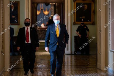 United States Senate Majority Leader Mitch McConnell (Republican of Kentucky) walks to his office at the United States Capitol in Washington D.C., U.S..