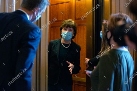 United States Senator Susan Collins (Republican of Maine) speaks to members of the media as she leaves the United States Capitol in Washington D.C., U.S..