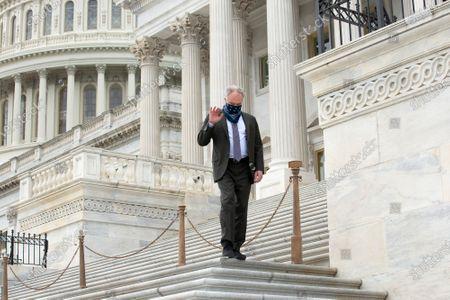 United States Senator Tim Kaine (Democrat of Virginia) leaves the United States Capitol in Washington D.C., U.S..