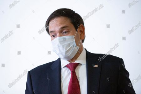 United States Senator Marco Rubio (Republican of Florida) speaks to members of the media prior to the GOP Policy Luncheons at the Hart Senate Office Building in Washington D.C., U.S..