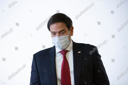 Stock Picture of United States Senator Marco Rubio (Republican of Florida) speaks to members of the media prior to the GOP Policy Luncheons at the Hart Senate Office Building in Washington D.C., U.S..