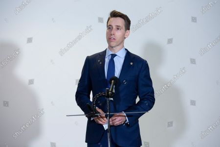 United States Senator Josh Hawley (Republican of Missouri) speaks to members of the media prior to the GOP Policy Luncheons at the Hart Senate Office Building in Washington D.C., U.S..