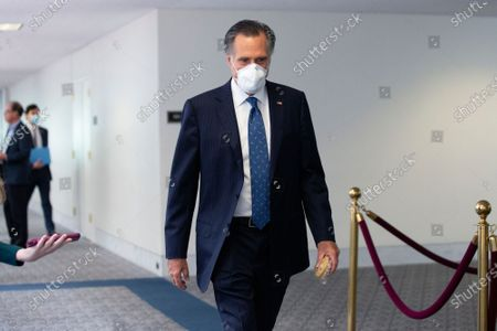 United States Senator Mitt Romney (Republican of Utah) leaves the GOP Policy Luncheons at the Hart Senate Office Building in Washington D.C., U.S..