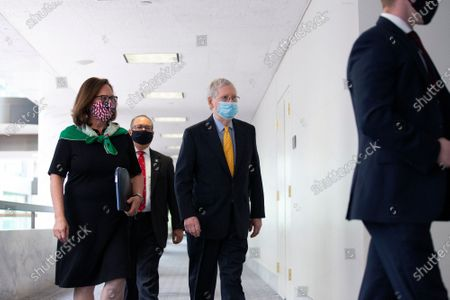 United States Senate Majority Leader Mitch McConnell (Republican of Kentucky) walks to the GOP Policy Luncheons at the Hart Senate Office Building in Washington D.C., U.S..