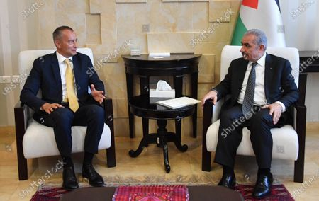 Palestinian Prime Minister Mohammad Ishtayeh, meets with Nikolay Mladenov, United Nations Special Coordinator for the Middle East Peace Process, in the West Bank city of Ramallah, on May 21, 2020. Photo by Prime Minister Office