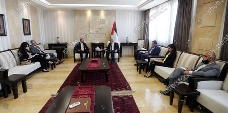 Stock Picture of Palestinian Prime Minister Mohammad Ishtayeh, meets with Nikolay Mladenov, United Nations Special Coordinator for the Middle East Peace Process, in the West Bank city of Ramallah, on May 21, 2020. Photo by Prime Minister Office