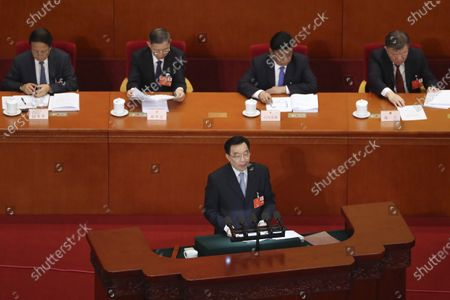 Wang Chen, vice chairman of the Standing Committee of China's National People's Congress (NPC), speaks during the opening session of the NPC at the Great Hall of the People in Beijing