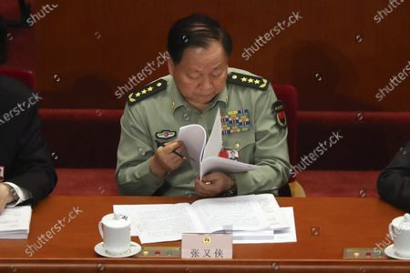 Zhang Youxia, vice chairman of China's Central Military Commission, attends the opening session of China's National People's Congress (NPC) at the Great Hall of the People in Beijing