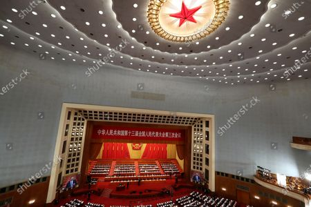 Chinese leaders and delegates attend the opening session of China's National People's Congress (NPC) at the Great Hall of the People in Beijing, China, 22 May 2020. China held the Chinese People's Political Consultative Conference (CPPCC) on 21 May and will hold the National People's Congress (NPC) on 22 May, after the two major political meetings initially planned to be held in March 2020 were postponed amid the ongoing coronavirus COVID-19 pandemic.