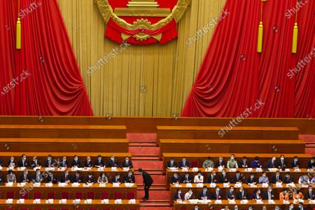 Delegates gather before the start of the opening session of China's National People's Congress (NPC) at the Great Hall of the People in Beijing, China, 22 May 2020. China held the Chinese People's Political Consultative Conference (CPPCC) on 21 May and will hold the National People's Congress (NPC) on 22 May, after the two major political meetings initially planned to be held in March 2020 were postponed amid the ongoing coronavirus COVID-19 pandemic.