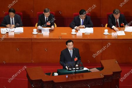Wang Chen, vice chairman of the Standing Committee of China's National People's Congress (NPC), speaks during the opening session of the NPC at the Great Hall of the People in Beijing, China, 22 May 2020. China held the Chinese People's Political Consultative Conference (CPPCC) on 21 May and will hold the National People's Congress (NPC) on 22 May, after the two major political meetings initially planned to be held in March 2020 were postponed amid the ongoing coronavirus COVID-19 pandemic.