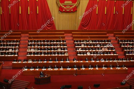 Chinese Premier Li Keqiang (L, bottom) delivers the government work report during the opening session of China's National People's Congress (NPC) at the Great Hall of the People in Beijing, China, 22 May 2020. China held the Chinese People's Political Consultative Conference (CPPCC) on 21 May and will hold the National People's Congress (NPC) on 22 May, after the two major political meetings initially planned to be held in March 2020 were postponed amid the ongoing coronavirus COVID-19 pandemic.
