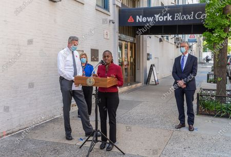 First Lady Chirlane McCray addresses media after she and mayor Bill de Blasio donated blood during COVID-19 pandemic at New York Blood Center on 67th street