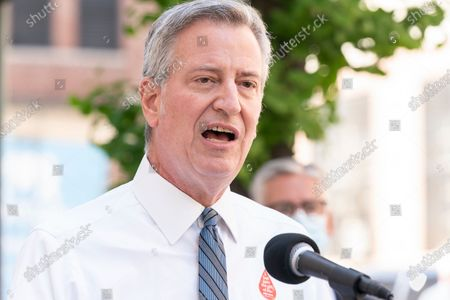 Stock Photo of Mayor Bill de Blasio addresses media after he and First Lady Chirlane McCray donated blood during COVID-19 pandemic at New York Blood Center on 67th street