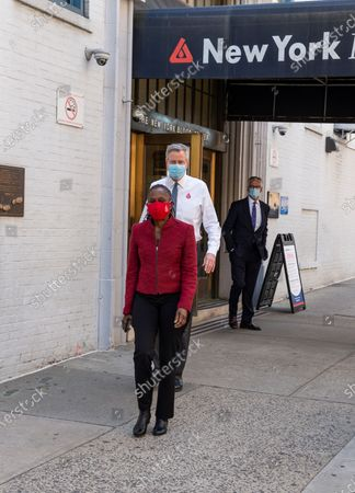 Mayor Bill de Blasio and First Lady Chirlane McCray donated blood during COVID-19 pandemic at New York Blood Center on 67th street