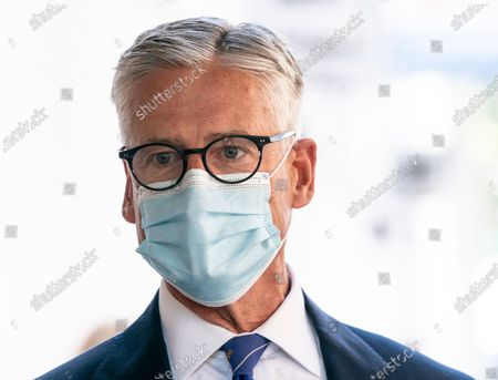 Stock Image of Christopher Hillyer President/CEO of New York Blood Center attends Mayor Bill de Blasio and First Lady Chirlane McCray donation of blood during COVID-19 pandemic
