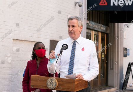 Mayor Bill de Blasio addresses media after he and First Lady Chirlane McCray donated blood during COVID-19 pandemic at New York Blood Center on 67th street
