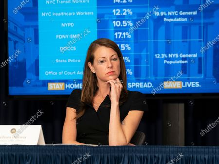 Secretary to Governor Melissa DeRosa attends Andrew Cuomo announcement and media briefing on COVID-19 pandemic at office on 3rd Avenue