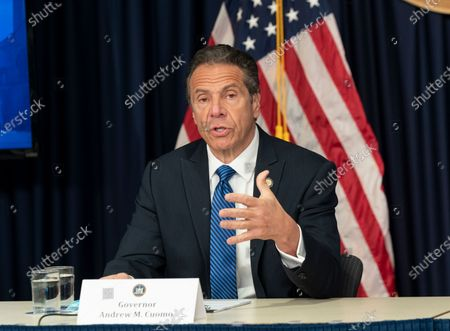 Governor Andrew Cuomo makes announcement and holds media briefing on COVID-19 pandemic at office on 3rd Avenue
