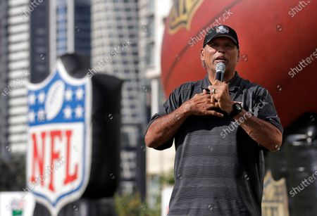 Stock Photo of Former Cincinnati Bengals player Anthony Munoz speaks during the NFL PLAY 60 event in Mexico City. The Pro Football Hall of Fame will have three members livestream a session, with Ohio youngsters as part of its Strong Youth Strong Community program