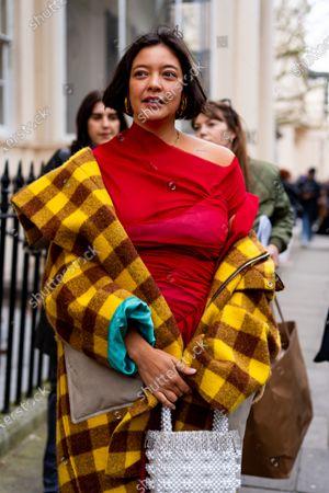 Editorial image of 'Bats for lashes' Natasha Khan LFW20, February 2020. Streetstyle Day One of London Fashion Week., The Mall, London, UK - 14 Feb 2020