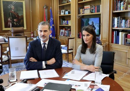 Spanish Royals working at Zarzuela Palace, Madrid