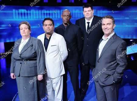 Stock Photo of Anne 'The Governess' Hegerty, Paul 'The Sinnerman' Sinha, Shaun 'The Dark Destroyer' Wallace, Mark 'The Beast' Labbett and Bradley Walsh on The Chase.