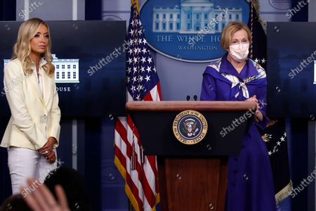 Dr. Deborah Birx, White House coronavirus response coordinator, speaks with reporters about the coronavirus in the James Brady Briefing Room of the White House, in Washington, as White House press secretary Kayleigh McEnany listens