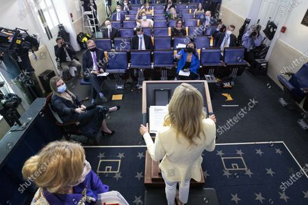 Dr. Deborah Birx, White House coronavirus response coordinator, left, departs as White House press secretary Kayleigh McEnany speaks with reporters about the coronavirus in the James Brady Press Briefing Room of the White House, in Washington