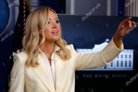 White House press secretary Kayleigh McEnany speaks with reporters about the coronavirus in the James Brady Briefing Room of the White House, in Washington