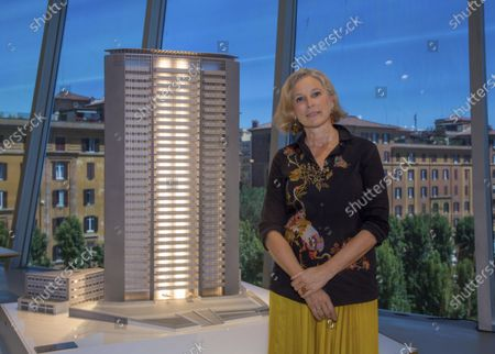 """Stock Photo of President of the National Museum of the 21st Century's Arts (MAXXI) Foundation, Giovanna Melandri, poses next to a scale model of the Milan's Pirelli Tower by architect Gio Ponti for a portrait as she attends the reopening of the museum in Rome, after more than two months of lockdown for the COVID-19 pandemic. The museum is gradually reopening, starting with the exhibition """"Gio Ponti. Loving Architecture"""", Visitors will have to book their tickets online, respect safe distancing and follow the recommendation given by the museum"""