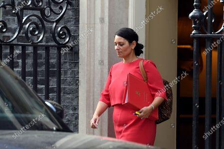 Stock Image of Priti Patel, Home Secretary, leaves No.10 Downing Street.