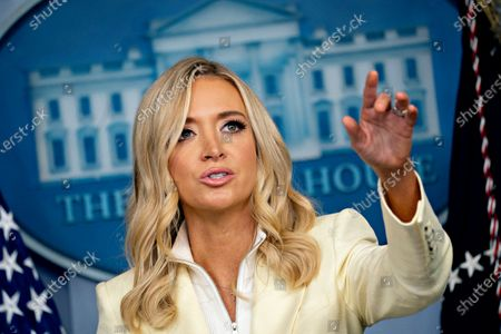 Kayleigh McEnany, White House press secretary, speaks during a news conference in the Brady Press Briefing Room of the White House in Washington, DC, USA, on 22 May 2020.  President Trump ordered states to allow churches to reopen from stay-at-home restrictions imposed to combat the coronavirus outbreak, saying he would override any governor who refuses.
