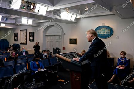 US President Donald J. Trump speaks during a news conference in the Brady Press Briefing Room of the White House in Washington, DC, USA, on 22 May 2020.