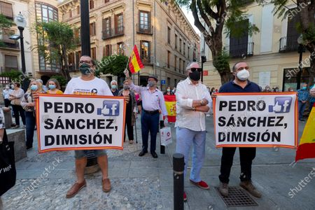Stock Picture of People attend a protest against the Spanish central government and demand its resignation in Murcia, southern Spain, 22 May 2020. The central government won parliamentary backing on 20 May to extend the nation's state of emergency implemented to stem the widespread of the SARS-CoV-2 coronavirus that causes the COVID-19 disease. It is the fifth two-week extension in a row and will remain in force until 07 June 2020.