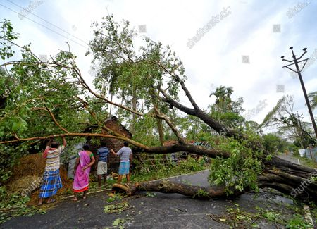 Men clearing a broken tree and an electric pole from the road during the aftermath. Cyclone Amphan has hit west Bengal with a speed of 150 Km/ hr. which caused huge destruction of lively hood and 76 deaths have been reported so far.