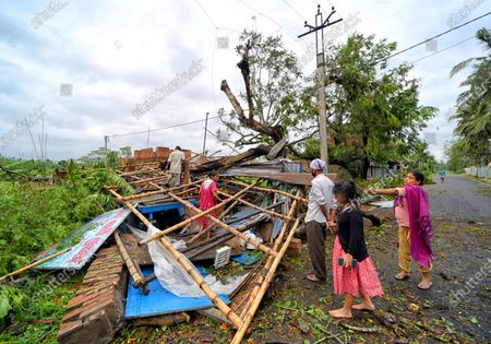 A completely devastated house during the aftermath. Cyclone Amphan has hit west Bengal with a speed of 150 Km/ hr. which caused huge destruction of lively hood and 76 deaths have been reported so far.