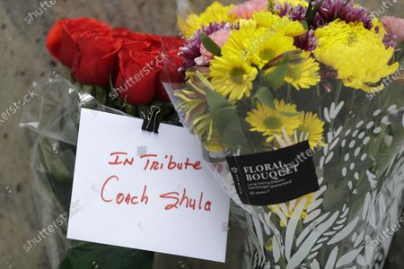 Flowers and cards are shown at a tribute procession for coach Don Shula, at Hard Rock Stadium in Miami Gardens, Fla. Shula died on May 4