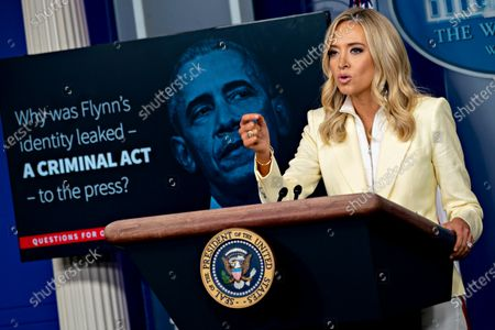 White House Press Secretary Kayleigh McEnany, speaks during a news conference in the Brady Press Briefing Room of the White House in Washington, D.C., U.S.,. President Trump ordered states to allow churches to reopen from stay-at-home restrictions imposed to combat the coronavirus outbreak, saying he would override any governor who refuses.