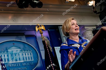 Stock Photo of Ambassador Deborah L. Birx, M.D., White House Coronavirus Response Coordinator, speaks during a news conference in the Brady Press Briefing Room of the White House in Washington, D.C., U.S.,. United States President Donald J. Trump did not wear a face mask during most of his tour of Ford Motor Co.'s ventilator facility Thursday, defying the automaker's policies and seeking to portray an image of normalcy even as American coronavirus deaths approach 100,000.