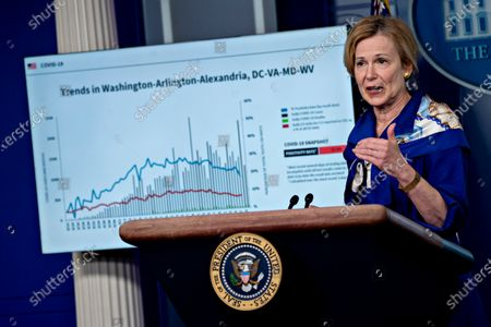 Ambassador Deborah L. Birx, M.D., White House Coronavirus Response Coordinator, speaks during a news conference in the Brady Press Briefing Room of the White House in Washington, D.C., U.S.,. United States President Donald J. Trump did not wear a face mask during most of his tour of Ford Motor Co.'s ventilator facility Thursday, defying the automaker's policies and seeking to portray an image of normalcy even as American coronavirus deaths approach 100,000.